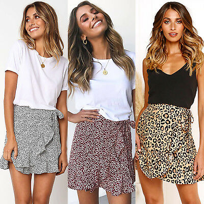 Women Leopard High Waist Ruffle Skirt Mini Dress Summer Casual Frill Skirts Club