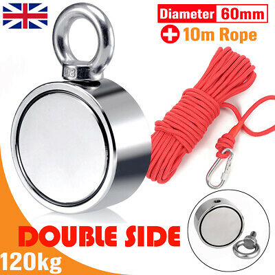 120kg Double Sided Round Recovery Salvage Neodymium Fishing Magnet + 10M Rope