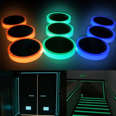 Self Adhesive Glow In Dark Warning Luminous Tape Wall Sticker Safety Decor Home