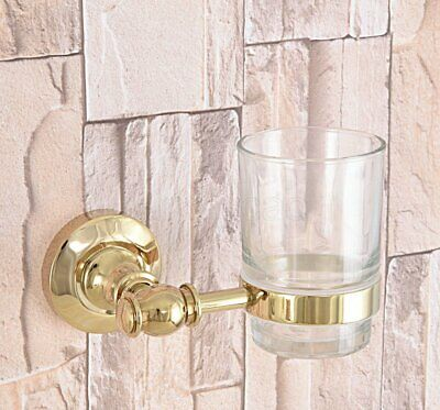 Luxury Gold Brass Wall Mount Bathroom Toothbrush Holder With Single Glass Cups