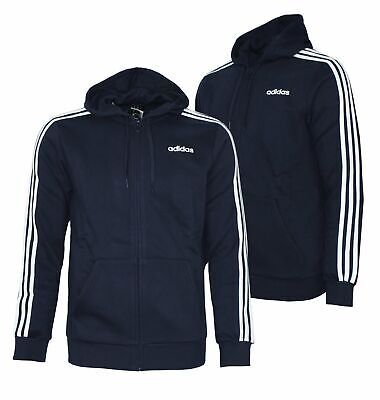 ADIDAS HERREN JACKE Essentials 3 Stripes Full Zip Hood