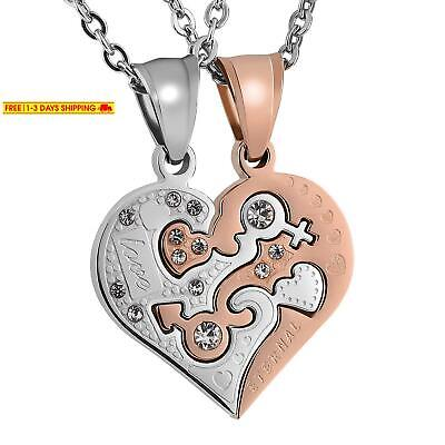 Aeici His And Hers Matching Set Stainless Steel Half Heart Pendant With Cross Pu