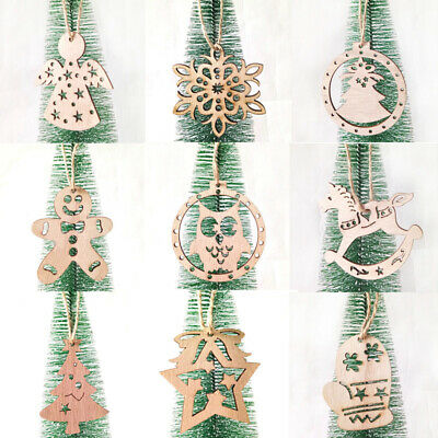 6PCs Wooden Christmas Snowflakes Pendants Xmas Tree Ornaments Home Hanging Decor