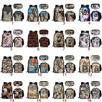 Funny Cats Girls Kids School Bag Satchel Lunch Pencil Case Cute Animal Backpack