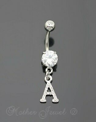 LETTER T ALPHABET CZ DANGLE 316L SURGICAL STEEL NAVEL BELLY CURVED BAR RING