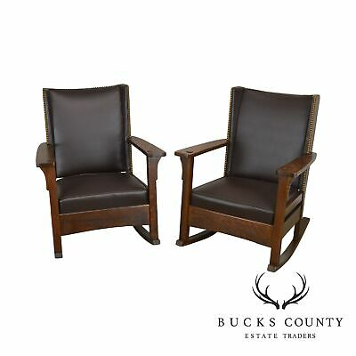 Antique Pair of Mission Oak Stickley Era Brown Leather Rockers