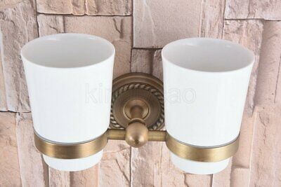 Antique Brass Wall Mounted Bathroom Toothbrush Holder With Double Ceramics Cups