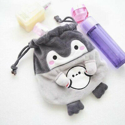 Cute Plush Fuzzy Fluffy Penguin Case Makeup Pouch Coin Purse Storage Bag T