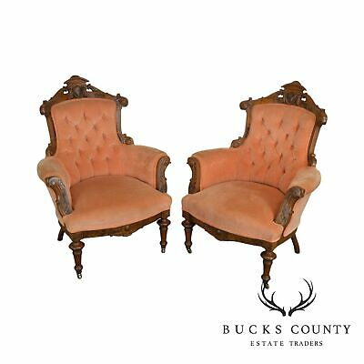 Victorian Renaissance Antique Pair Walnut Parlor or Library Lounge Chairs