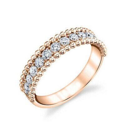 Gorgeous Rose Gold Filled Rings for Women Round Cut White Sapphire Size 6-10