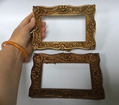 Antique Gilded Plaster Rococo Picture Frames X 2 Baroque Glazed Picture Frame