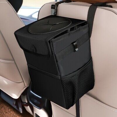 Leak-Proof Collapsible Portable Car Trash Can Organizer Bin Lid Storage Pockets