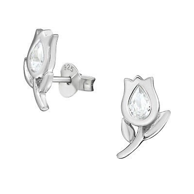 925 Sterling Silver Tulip with Crystal Cubic Zirconia Stud Earrings