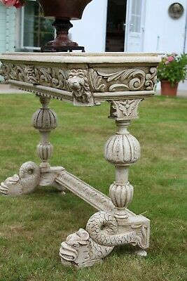 Exquisite Antique French Painted Carved Dolphin Library/Console/Sofa Table/ Desk