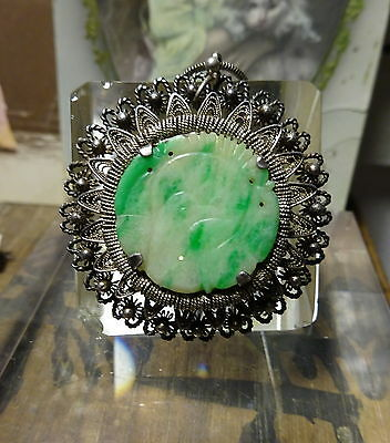 Antique Chinese Bird Carved Apple Green Jade Filigree Silver Pendant