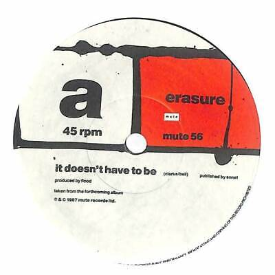 """Erasure - It Doesn't Have To Be - 7"""" Vinyl Record Single"""