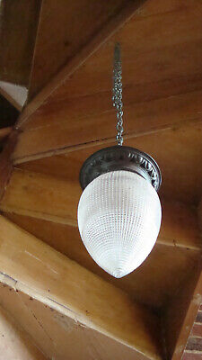 Antique Art and crafts Holophane pendant light and bronze chain