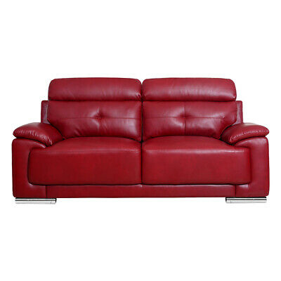 ASTI MODERN ITALIAN Inspired Dark Red Leather Sofas 3 + 2 ...