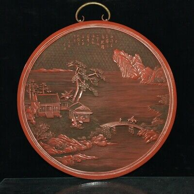 """15"""" chinese old antique Lacquer ware wood handcarved landscape Hanging plate"""