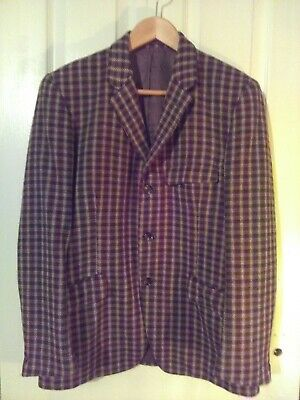 Vintage Check brown/red/cream  wool Jacket Andrew Douglas Scotland 36-38 chest