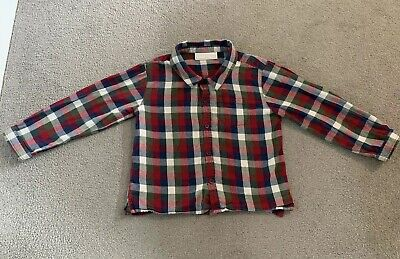Little White Company Toddler Boy Christmas Check 100% Cotton Shirt 18-24 Months