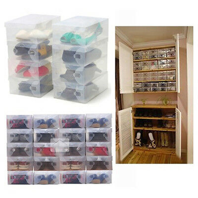 Eg_ 10 X Clear Plastic Shoe Storage Stackable Foldable Tidy Organizer Box Nice
