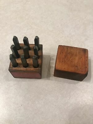 "Vintage 3/32"" Steel  Numeric Stamps Set With Wood box"