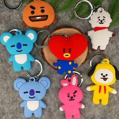 KPOP BTS BT21 Bangtan Boys Keychain Collection Keyring TATA COOKY CHIMMY SHOOKY