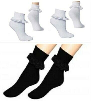 Kids Girls Lace Top Ankle School Cotton Rich Socks Avail In All Sizes Lot