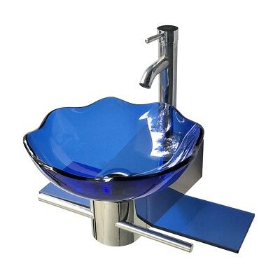 Small Wall Mount Glass Sink Blue Lotus Combo Package | Renovator's Supply