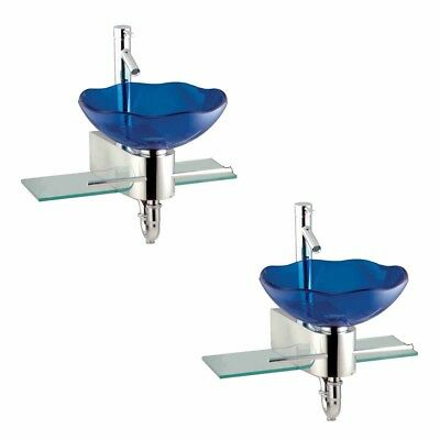 2 Small Wall Mount Glass Sink Blue Lotus Combo Package | Renovator's Supply