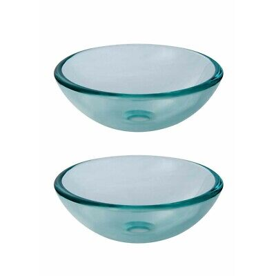 Tempered Glass Vessel Sink with Drain, Clear Mini Bowl Sink Set of 2
