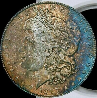 1887 Morgan Silver Dollar NGC MS63 Very Attractive Color Toning & Design  Toned