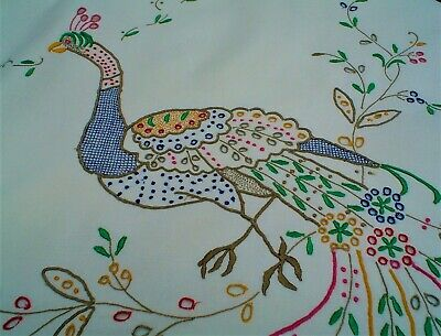 Vintage Madeira Colorful Embroidered Linen Tablecloth Peacock Theme