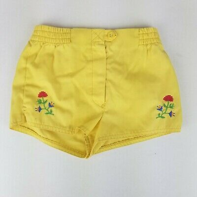 Vintage Yoddler 4t 5t Girls Floral Embroidered Shorts 70s 80s Elastic Waist