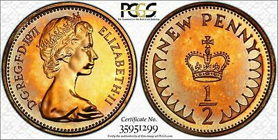 1971 Great Britain Half 1/2 New Penny PCGS PR67RD TONED COIN NONE GRADED HIGHER