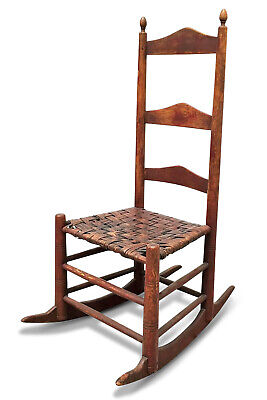 18th c. Amer. Ladder Back Rocking Chair Original Red Paint & Splint Hickory Seat