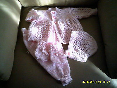 Handknitted Pink Pant,Jacket, Bonnet And Bootee Set