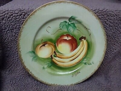Norleans Japan Decorator Plate Hand Painted Fruit Vintage Peach Banana Apple