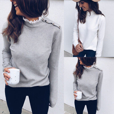 Womens Lace High Neck Fit T-Shirt Ladies Long Sleeve Warm Casual Tee Tops Blouse