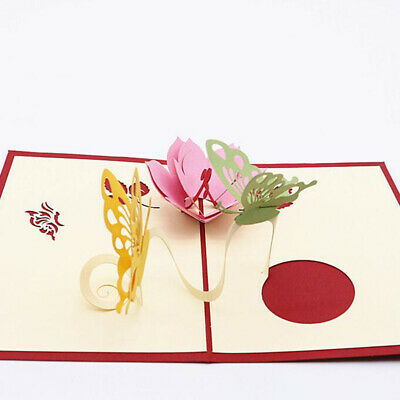 Mothers Day Birthday Greeting Card 3D Handmade Butterfly And Flowers Gift MA