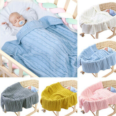 1Pc Baby Kid Soft Knit Crochet Knitted Bedding Quilt Play Blanket Towel Wrap New
