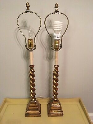 Stunning PAIR of Vintage ITALIAN FLORENTINE Rope TWISTED Lamps LIGHT FIXTURES