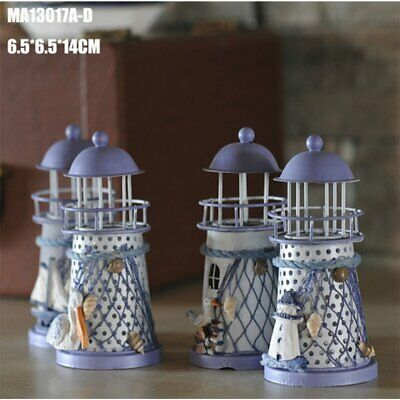 Wrought Iron Lighthouse Candle Holder Innovative Ornament Home Office Decor O2