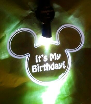"Disney Parks Mickey Mouse Head "" It's My Birthday "" Light Up Lanyard New"