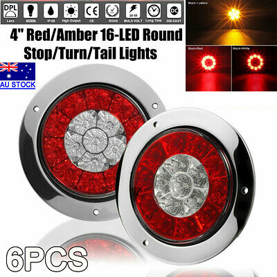 "6X 4"" Round Red/Amber 16-LED Truck Trailer Brake Stop Turn Signal Tail Light AU"