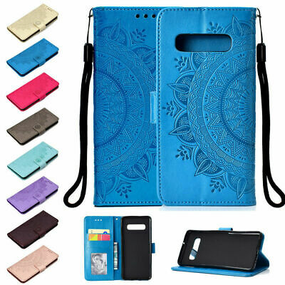 For Samsung S7 S8 Note 9 A8 A9 Floral Embossed Leather Magnetic Flip Wallet Case