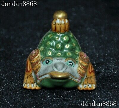 China Wucai porcelain Gilt FengShui Golden Toad bufo spittor Statue Snuff bottle
