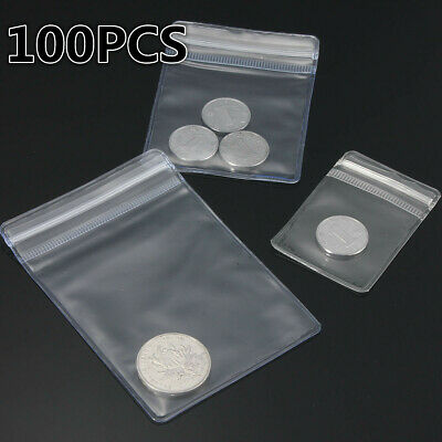 100PCS THICK Grip Seal Bag Self Resealable Clear Polythene Poly Plastic Zip Lock