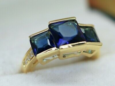 Antique Art Deco Jewellery Ring Blue White Sapphires Vintage Jewelry 7 N1/2